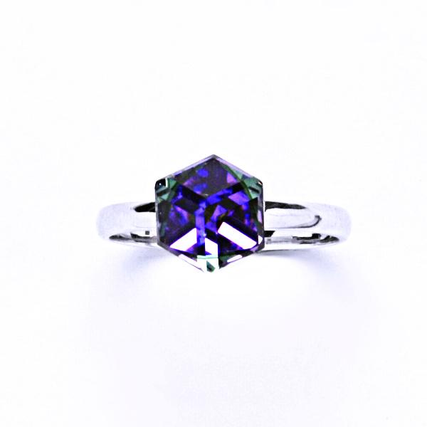 Stříbrný prsten, krysta Swarovski, heliotrop, šperky s krystaly, T 1230