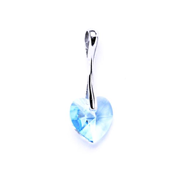 Stříbrný přívěšek,šperky, Swarovski krystal akvamarín, srdce, P 1295