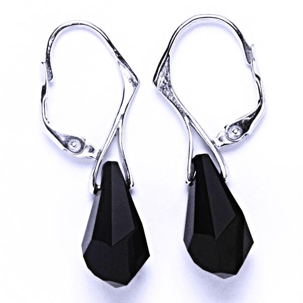 Stříbrné náušnice, šperky, Swarovski krystal, patent (Polygon Drop Jet 17mm )NK 1295