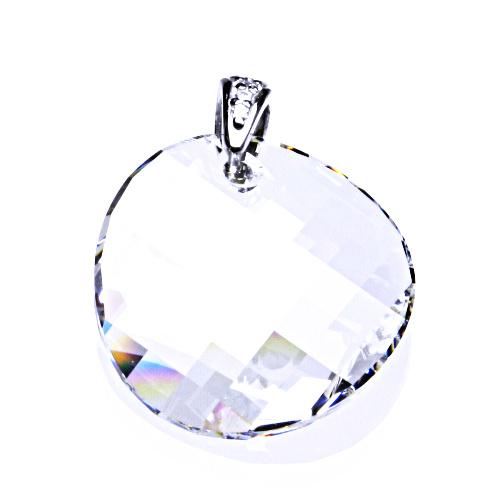 Stříbrný přívěsek s krystalem Swarovski (kolečko 28 mm čiré brus)P 1306