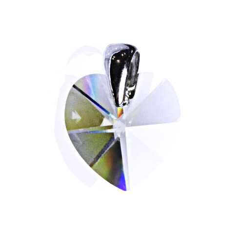 Stříbrný přívěsek s krystalem Swarovski black diamond, srdce, P 1302