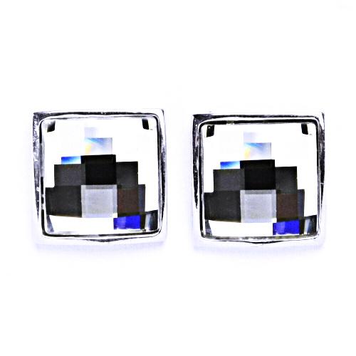 Stříbrné náušnice na šroubek s krystaly Swarovski Crystal čiré, NŠ 1305