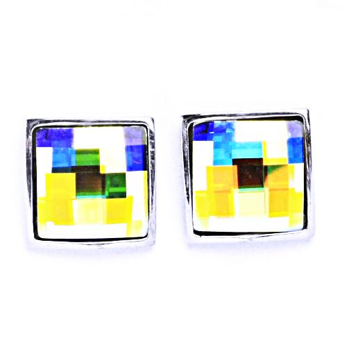 Stříbrné náušnice na šroubek s krystaly Swarovski (AB crystal)NŠ 1305
