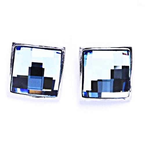 1 Stříbrné náušnice na šroubek s krystaly Swarovski (Akvamarín)NŠ 1305