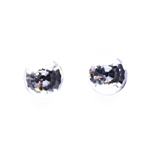 1 Náušnice stříbrné s krystalem Swarovski disco koule (čiré), NŠ 1311