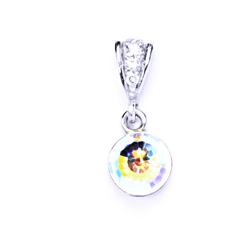 Přívěšek stříbrný s krystalem Swarovski koule disco krystal AB, P 1311