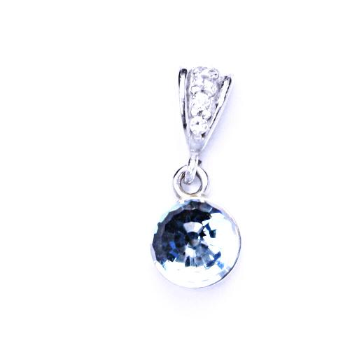 Přívěšek stříbrný s krystalem Swarovski koule disco krystal akvamarín, P 1311