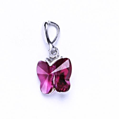 Přívěšky stříbrné s krystalem Swarovski(motýlek fuchsie) P 1307