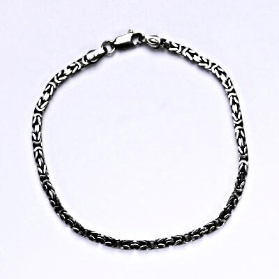 Stříbrný náramek s patinou, řetízek ze stříbra 6,76 g