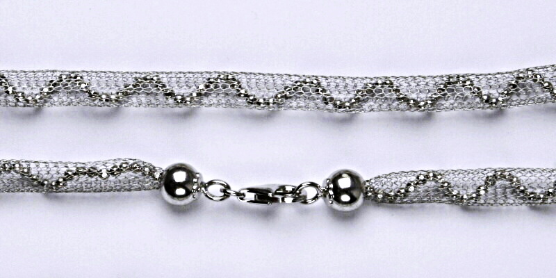 Netradiční stříbrný řetízek, řetízek ze stříbra 14,08 g, rhodiovaný