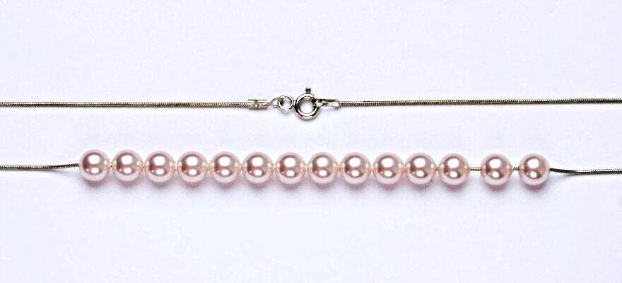 Stříbrný řetízek, řetízek ze stříbra, náhrdelník, perla 6,73 g