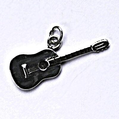 Stříbrný přívěšek s patinou, kytara, přívěsek ze stříbra P 193