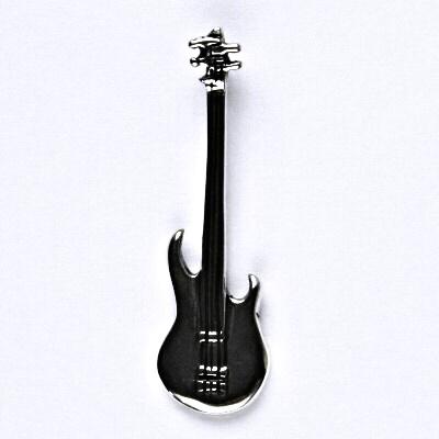 Stříbrný přívěsek, basová kytara - basovka s patinou, přívěsek ze stříbra, P 228