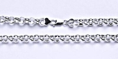 Stříbrný pánský silný náramek, řetěz, šperk, 4