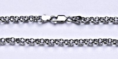 Stříbrný silný řetízek na krk, šperk, délka 45 cm