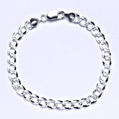 Stříbrný silný náramek, řetěz, šperk délka 19 cm,1