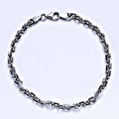 Stříbrný silný náramek, řetěz, šperk,6