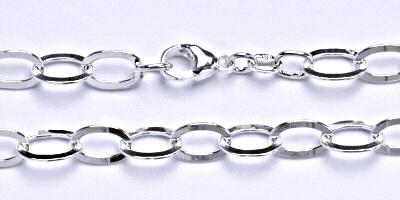 Stříbrný silný náramek, řetěz, šperk,9
