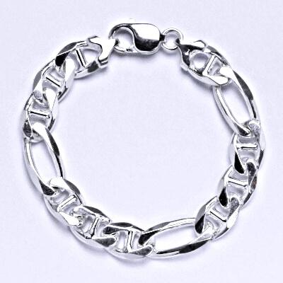 Stříbrný silný náramek, řetěz, šperk,11