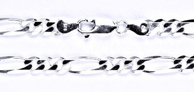 Stříbrný silný řetízek na krk, šperk, 42 cm
