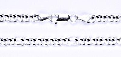 Stříbrný silný řetízek na krk, šperk, 45 cm
