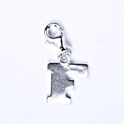 Stříbrný přívěšek písmenko F na karabince, P 904