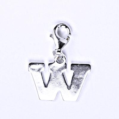 Stříbrný přívěšek písmenko W na karabince, P 904