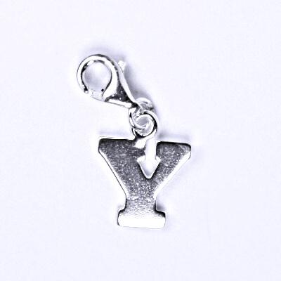 Stříbrný přívěšek písmenko Y na karabince, P 904