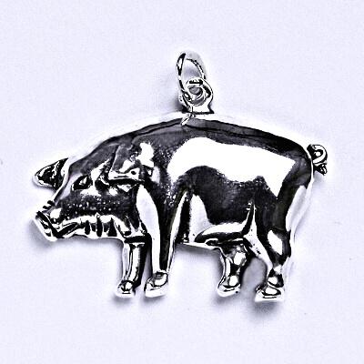 Stříbrný přívěsek s patinou prase, přívěsek ze stříbra, P 955