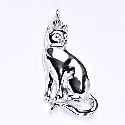 Stříbrný přívěsek, kočka, přívěšek ze stříbra, P 997