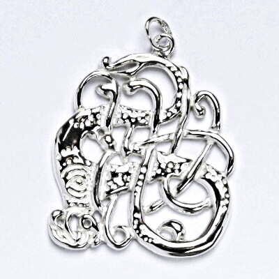 Stříbrný přívěsek, keltský had, přívěsek ze stříbra, P 101