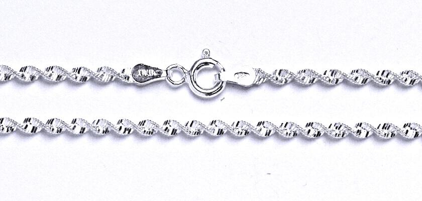 Stříbrný řetízek kroucené háďátko, řetízek ze stříbra, váha 4,36 g