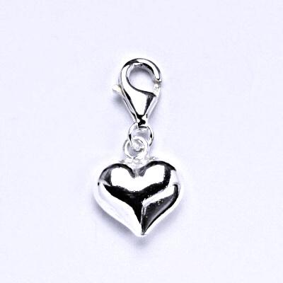 Stříbrný přívěšek s karabinou, srdce, přívěšek ze stříbra P 822