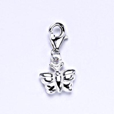 Stříbrný přívěšek s karabinou, motýl, P 763