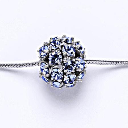 Stříbrný přívěšek koule se Swarovski krystalem light sapphire P 1343