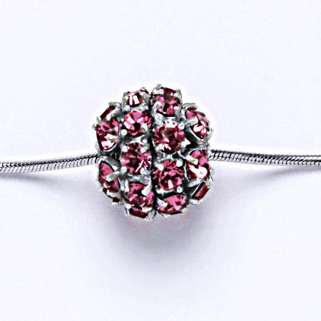Stříbrný přívěšek koule se Swarovski krystalem Rose P 1343