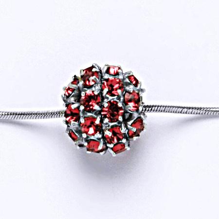 Stříbrný přívěšek koule se Swarovski krystalem indian pink P 1343