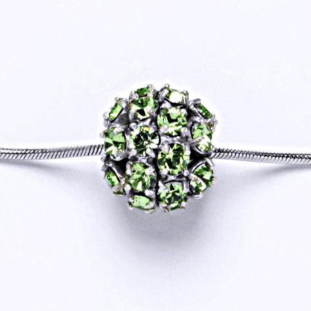 Stříbrný přívěšek koule se Swarovski krystalem peridot P 1343