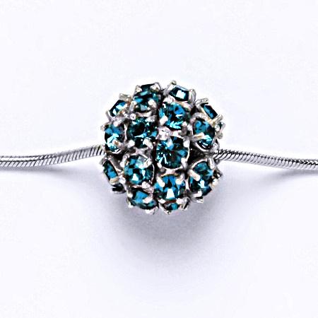 Stříbrný přívěšek koule se Swarovski krystalem blue zirkon P 1343