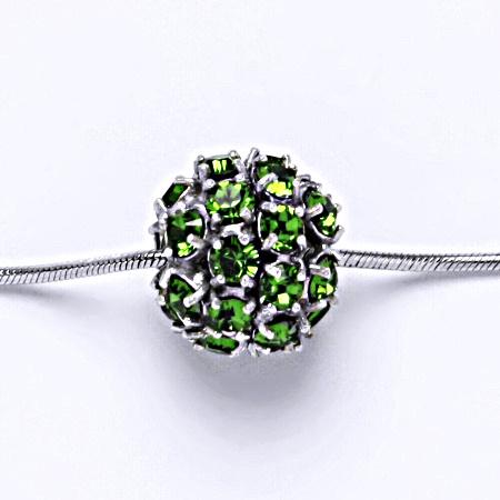Stříbrný přívěšek koule se Swarovski krystalem fern green P 1343