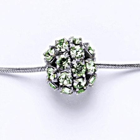 Stříbrný přívěšek koule se Swarovski krystalem chryzolit P 1343