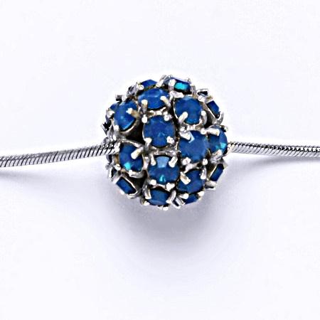Stříbrný přívěšek koule se Swarovski krystalem blue opal P 1343