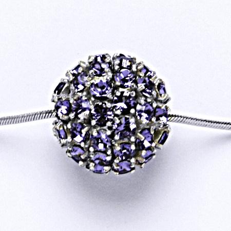 Stříbrný přívěšek koule se Swarovski krystalem tanzanite P 1338