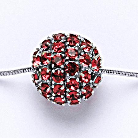 Stříbrný přívěšek koule se Swarovski krystalem indian pink P 1338