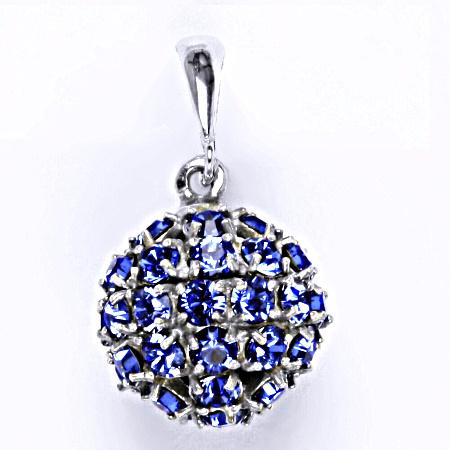 Stříbrný přívěšek koule se Swarovski krystalem sapphire P 1369/6