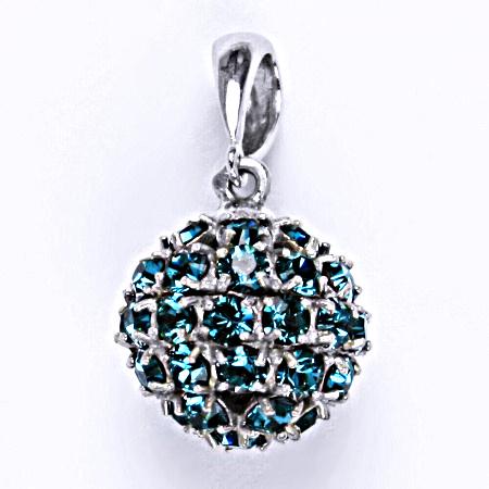 Stříbrný přívěšek koule se Swarovski krystalem blue zirkon P 1369/6