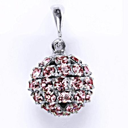 Stříbrný přívěšek koule se Swarovski krystalem light rose P 1369/6