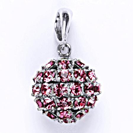 Stříbrný přívěšek koule se Swarovski krystalem rose P 1369/6