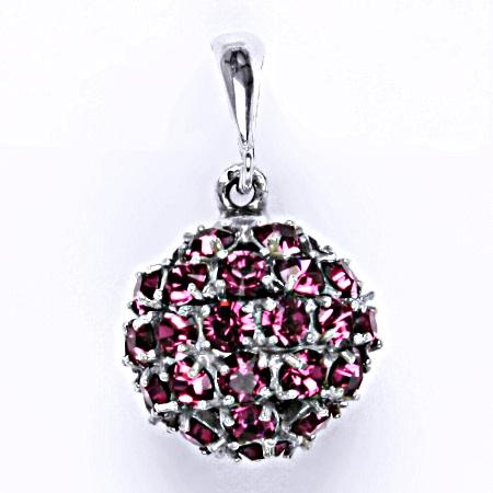 Stříbrný přívěšek koule se Swarovski krystalem fuchsia P 1369/6
