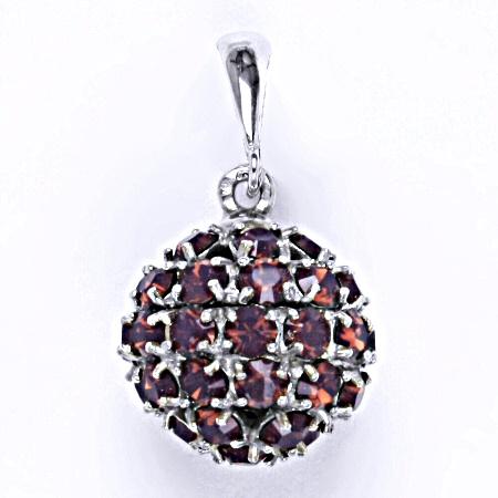 Stříbrný přívěšek koule se Swarovski krystalem cyklamen opal,šperk P 1369/6